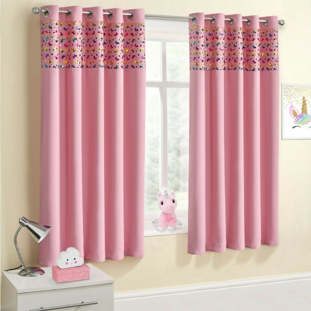 UNICORN RAINBOW PINK GIRLS KIDS BEDROOM THERMAL BLACKOUT RINGTOP EYELET CURTAINS